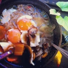 My ginger-garlic-mushroom noodle soup.